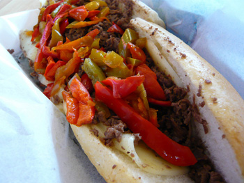 Cheesesteak with peppers and provolone